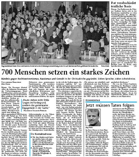 Zeitungsartikel 700 Menschen setzen ein starkes Zeichen